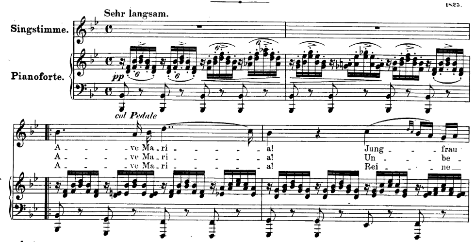Ave Maria de Schubert premières mesures (version originale)