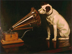Chien écoutant un grammophone